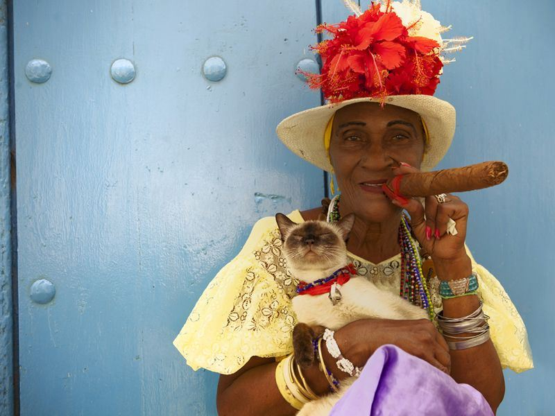 Cuban lady smoking a cigar