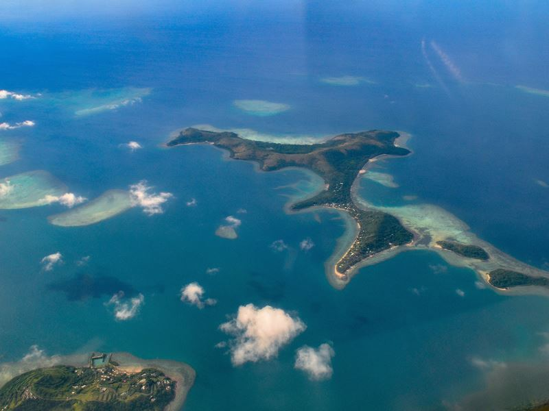 flying over fijian islands