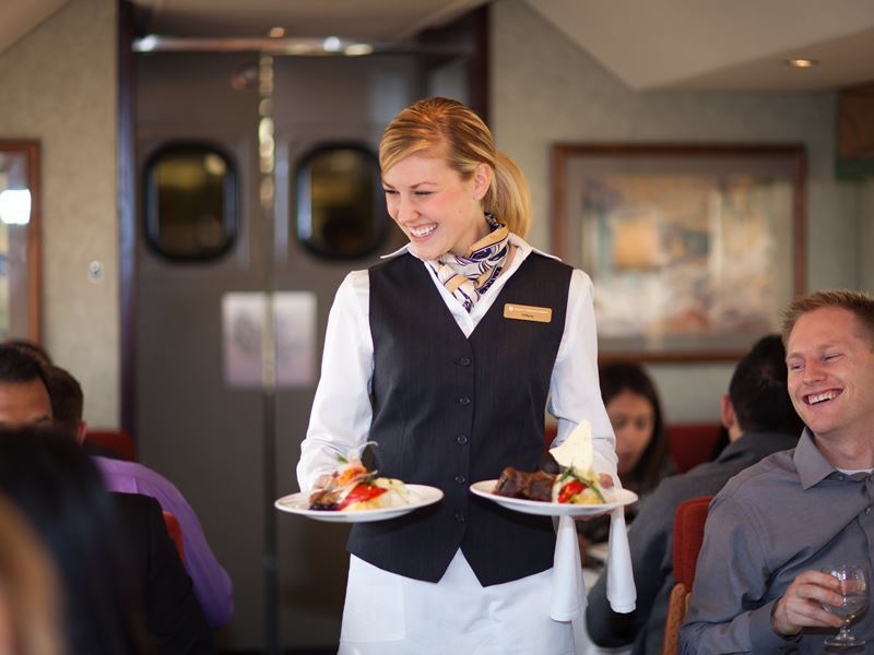 gourmet meals served on the goldleaf service