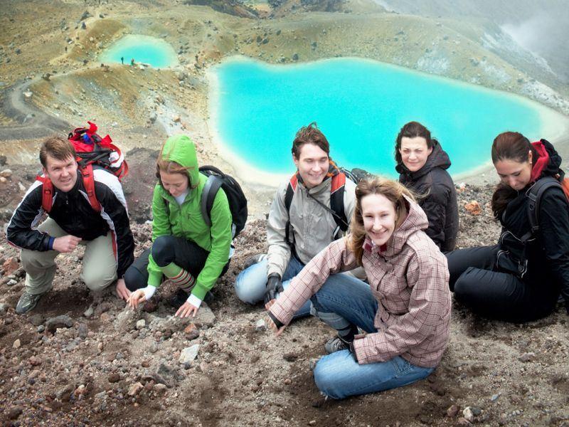 group at tongariro crossing emerald lakes