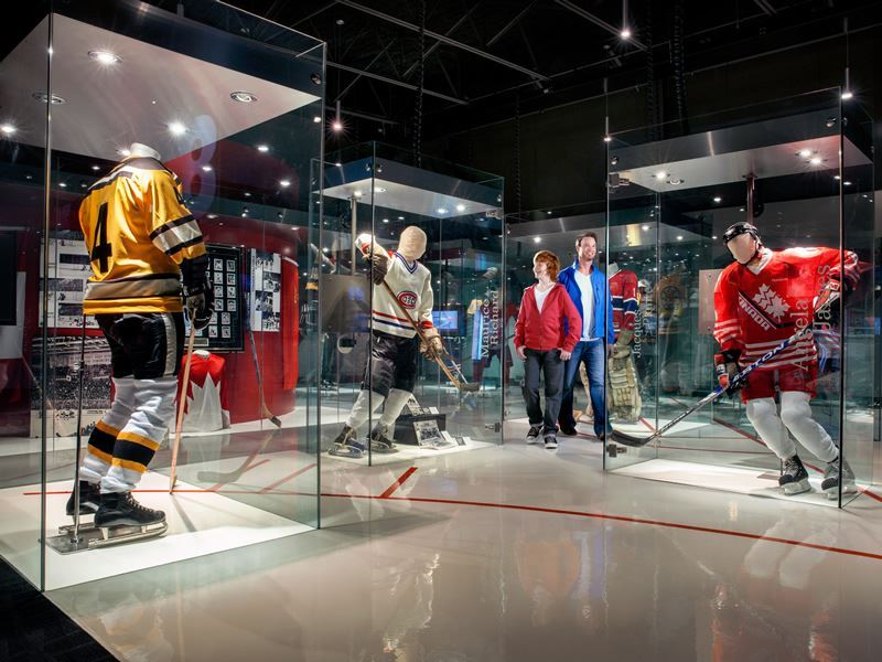 hockey displays inside canadas sports hall of fame calgary