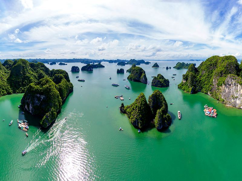 islands dotting halong bay