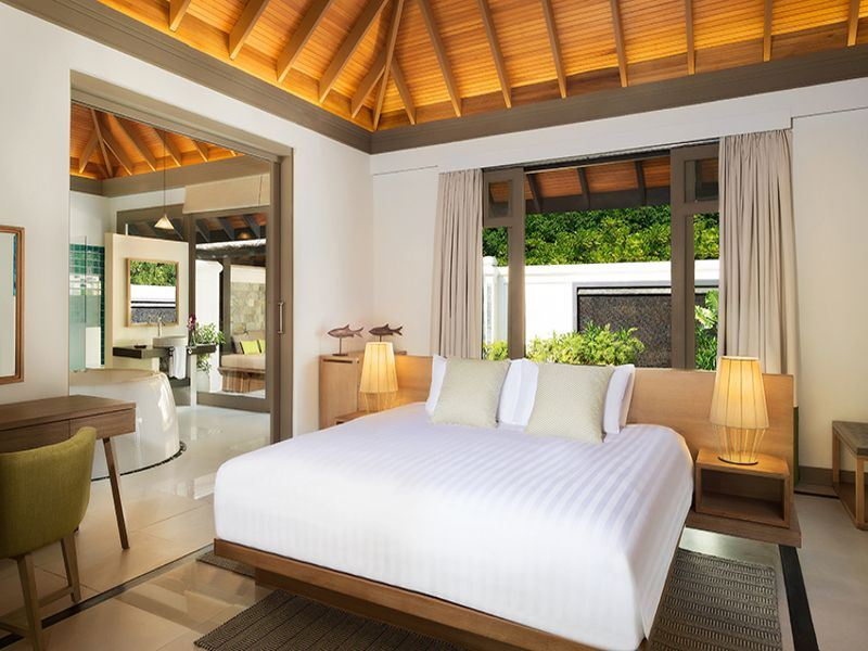 ja manafaru one bedroom beach suite with private infinity pool bedroom