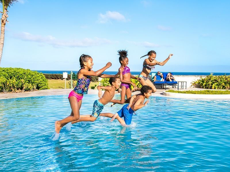 Kids having fun in Barbados