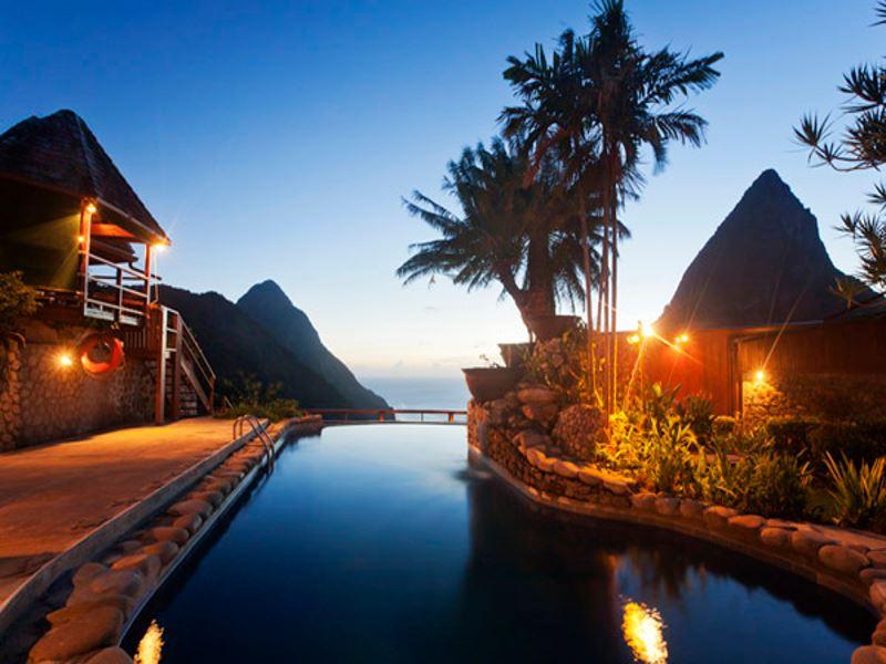 ladera resort pool at night