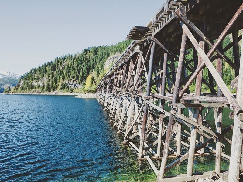 old wooden bridge at strathcona provincial park