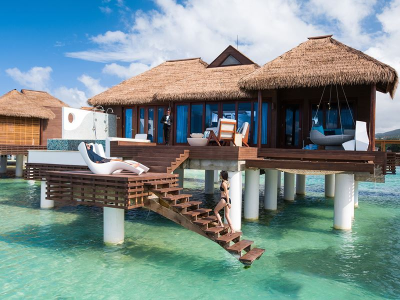 over the water private island butler villa with infinity pool