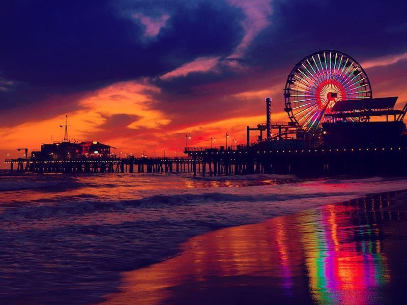 pier and ferris wheel santa monica by night