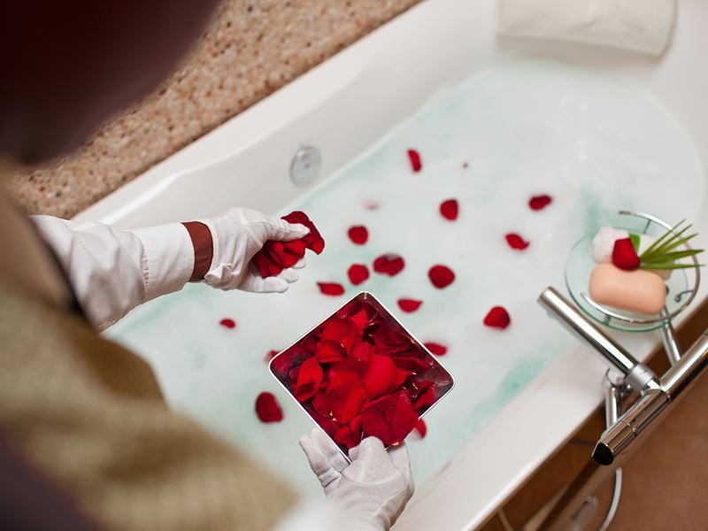 rose petal bath complimentary of your butler
