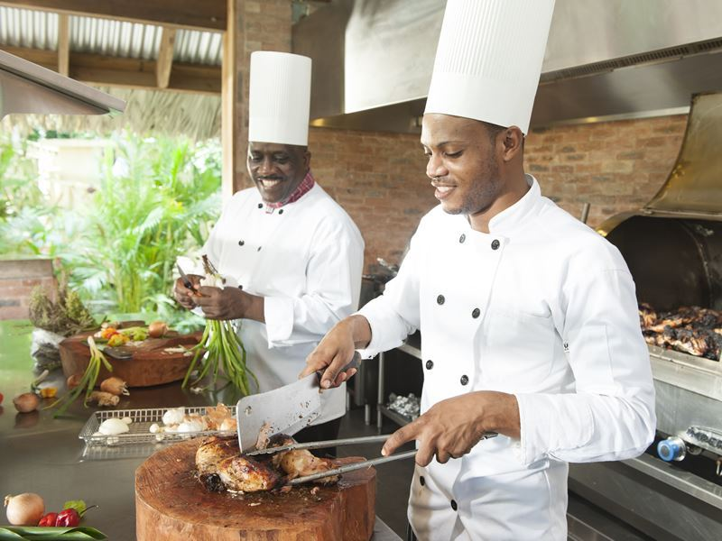 sandals ochi beach resort jerk shack chefs