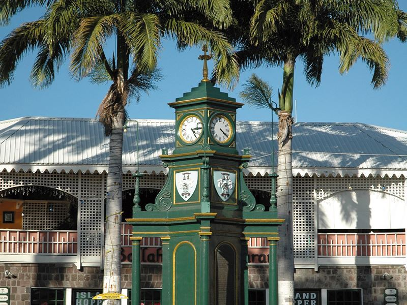 the clock tower in the circus basseterre