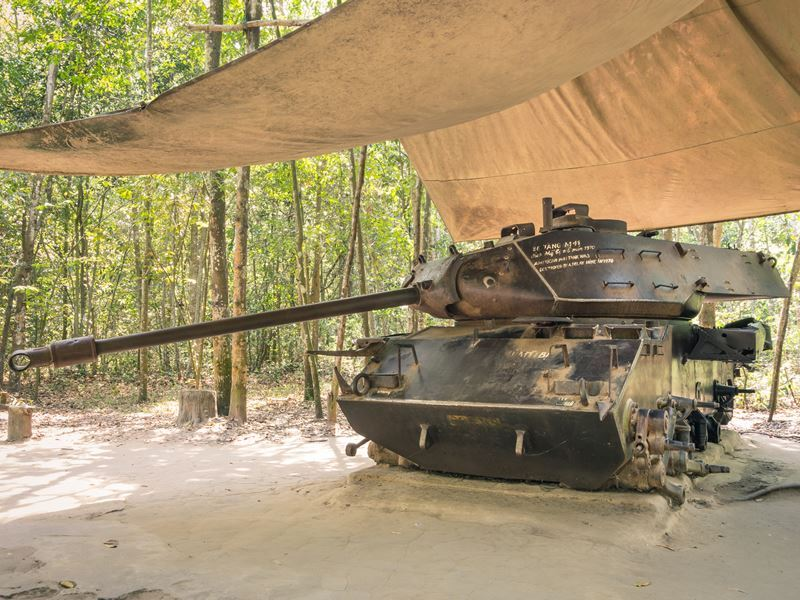 vintage tank at cu chi tunnels nr saigon