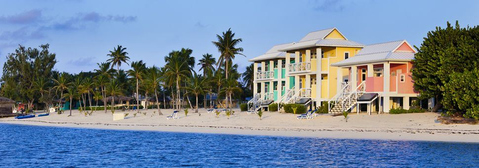 Colourful beach scene in Little Cayman
