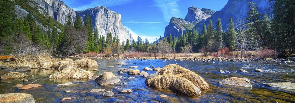 El Capitan Half Dome and Merced River in Yosemite National Park