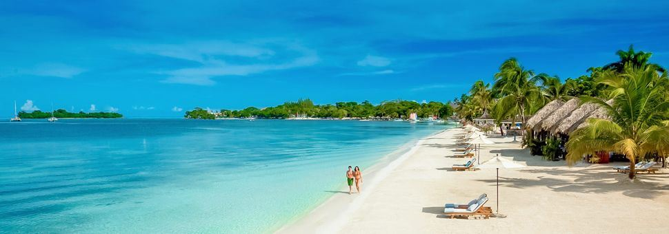 On the beach at Sandals Negril, Jamaica